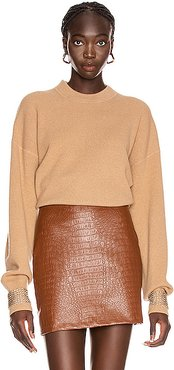 Crystal Cuff Crew Neck Sweater in Neutral
