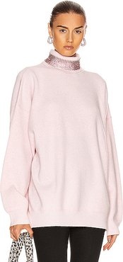 Crystal Neck Turtleneck Sweater in Pink