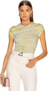 Silk Rib Cropped Cap Sleeve Crew Tee in Green,Ombre & Tie Dye