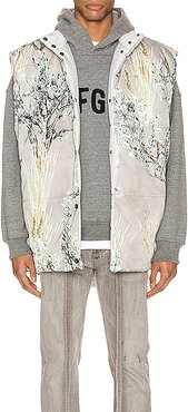 Reversible Nylon Oversized Camo Vest in Gray,Floral,Abstract