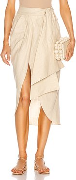 Map Reader Embroidered Wrap Skirt in Neutral