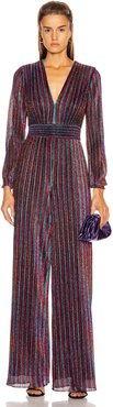 Rainbow Pleats Deep V Jumpsuit in Blue,Stripes,Red