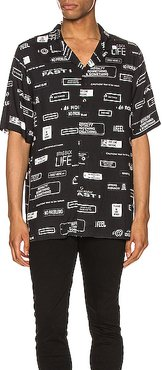 You Have Been Warned Resort Short Sleeve Shirt in Abstract,Black