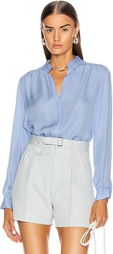 Bianca Band Collar Blouse in Blue