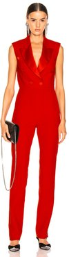 Enverse Satin Jumpsuit in Red