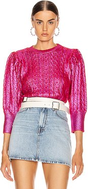 Metallic Cable Knit Sweater in Pink