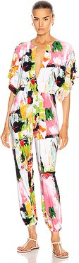 Rectangle Jog Jumpsuit in Abstract,Green,Pink,Red,White