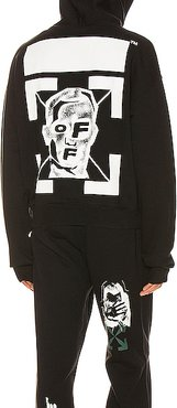Masked Face Over Hoodie in Black