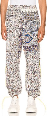 Iranian Print Pleat Trouser in Blue,Neutral,Paisley