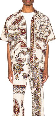 Iranian Print Zip Shirt in Neutral,Paisley,Red