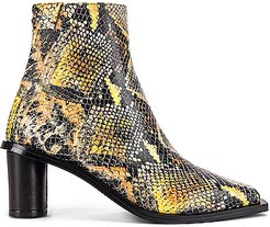 Oval Heel Ankle Boots in Animal Print,Gray,Yellow
