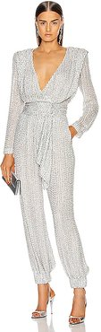 Strass Belted Jumpsuit in Metallic Silver