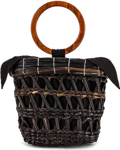 Totora Straw Basket With Polished Bamboo Handle Bag in Black