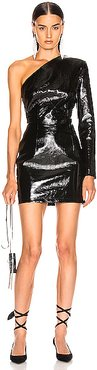 Backless Mini Patent Leather Dress in Black