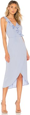 Pia Ruffle Midi Dress in Baby Blue. - size XS (also in S, M)