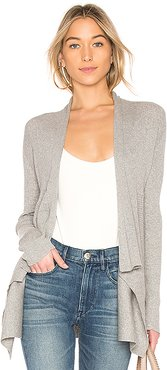 Ribbed Drape Cardigan in Grey. - size XS (also in L,M,S)