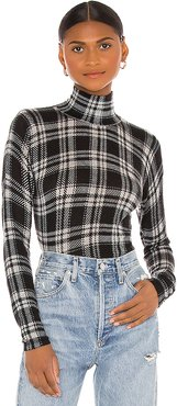 Printed Plaid Sheer Turtleneck in Black. - size L (also in M,S)