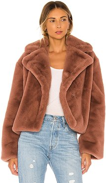 Big Time Plush Faux Fur Jacket in Brown. - size L (also in M)