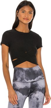 Spacedye Under Over Cropped Top in Black. - size L (also in M)