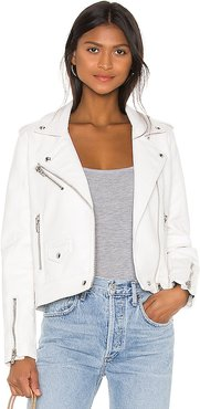 Vegan Leather Moto Jacket in White. - size S (also in L)