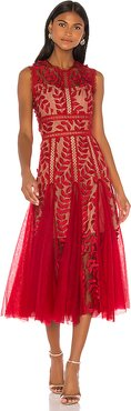 Saba Maroon Midi Dress in Red. - size XS (also in L)