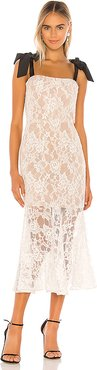 Willow Flared Midi Dress in White. - size XS (also in M)