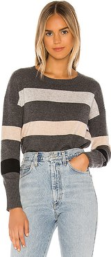 Stripe Crop Crew Sweater in Gray,Taupe. - size S (also in XS)