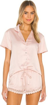 Victoria Solid Charmeuse Notch Short Set in Pink. - size L (also in S)