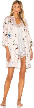 Penelope Printed Wrap Robe in Blush. - size M/L (also in XS/S)