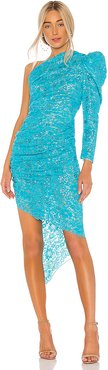 Lace One Shoulder Midi Dress in Blue,Teal. - size 40/S (also in 38/XS,42/M)