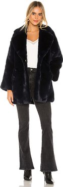 Posey Faux Fur Coat in Navy. - size M (also in L)