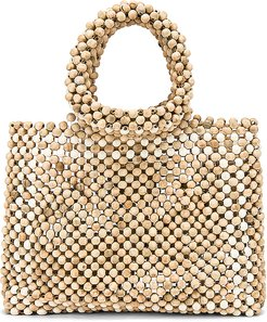 X REVOLVE Rhodes Beaded Purse in Nude.