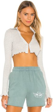 Cropped Thermal Top in Grey. - size XS (also in L)