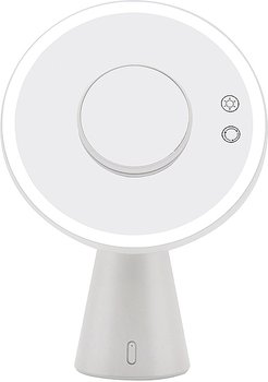 Luna Makeup Mirror and Night Lamp with Bluetooth Speakers in White.