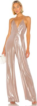 Metallic Chiffon Tie Back Jumpsuit in Pink. - size XS (also in M,S)