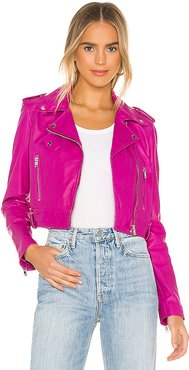 Ciara Leather Jacket in Fuchsia. - size S (also in XS)