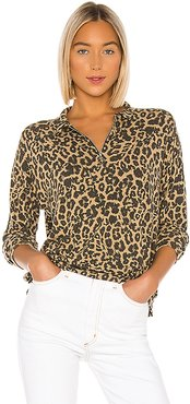 Brushed Leopard Zip Collar Pullover in Brown. - size S (also in XS)