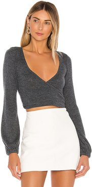 Penelope Wrap Sweater in Gray. - size L (also in XL)