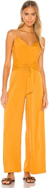 Cowl Neck Jumpsuit with D-Ring in Mustard. - size S (also in XS,M)