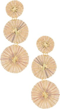 Three Golden Suns Earrings in Metallic Gold.