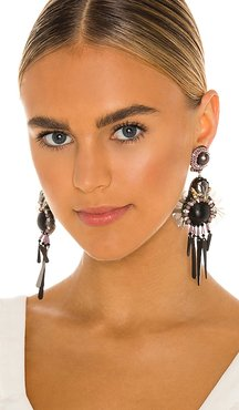 Beaded Drop Earrings in Purple.