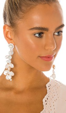 Pearl Drop Earrings in White.