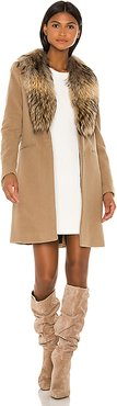 Crosby Jacket with Asiatic Raccoon Fur Trim in Tan. - size XS (also in S)