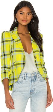 Pouf Sleeve One Button Blazer in Yellow. - size 6 (also in 4)
