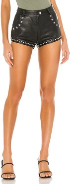 X REVOLVE Star Studded Leather Short in Black. - size XS (also in M)