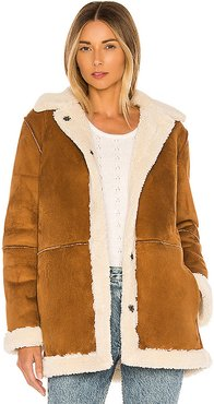 Kailani Faux Suede Sherpa Coat in Tan. - size XS (also in M)