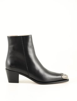 Designer Shoes, Black Leather Women's Ankle Boots