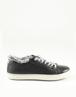 Designer Shoes, Black Eco Leather and Fur Women's Sneakers