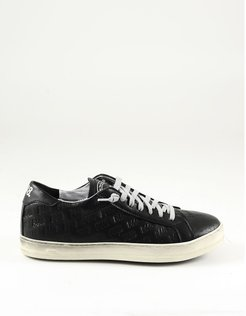 Designer Shoes, Black Debossed Leather Women's Sneakers