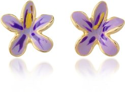 Designer Earrings, Garden Line - Purple Enamel Flower Earrings